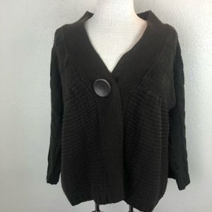 Allison Brittney Brown Cardigan Sweater Top Size L